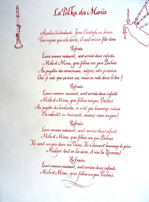 Texte calligraphié sur commande