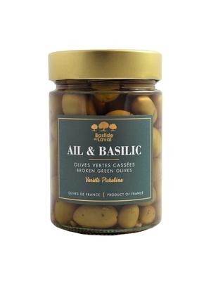 Olives Picholine cassées à l'Ail & Basilic