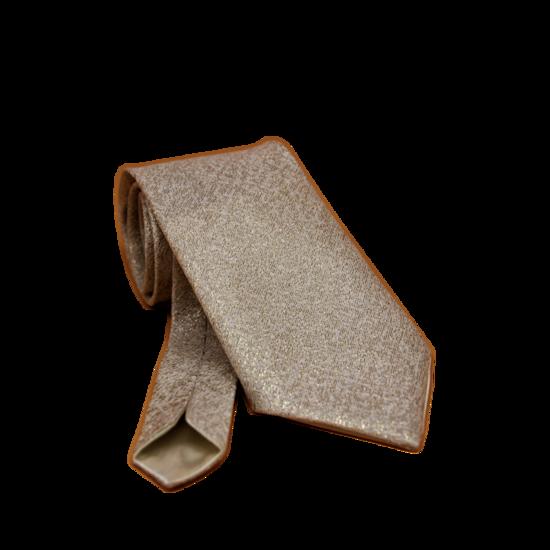 Cravate Dorée en Tissu Jacquard Homme