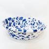 Grand plat tâcheté bleu et blanc